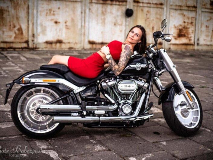 Girl in red and harley davidson