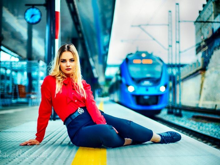Photo session at the railway station